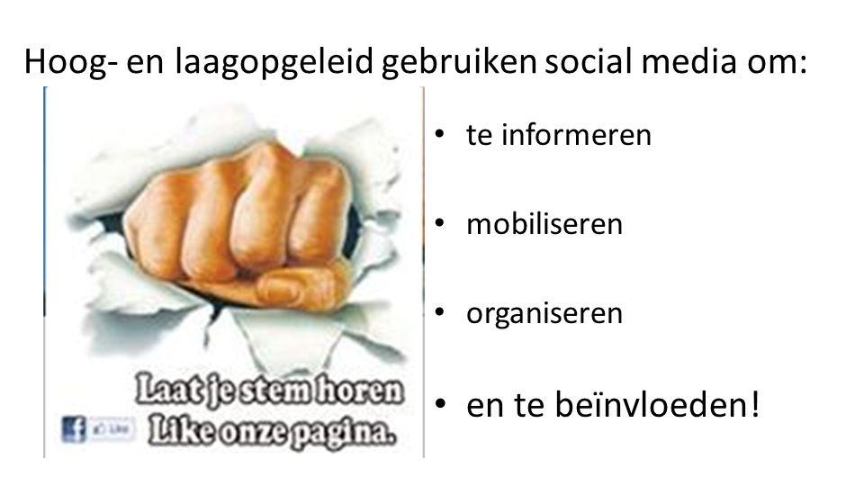 Hoog- en laagopgeleid gebruiken social media om: te informeren mobiliseren organiseren en te beïnvloeden!