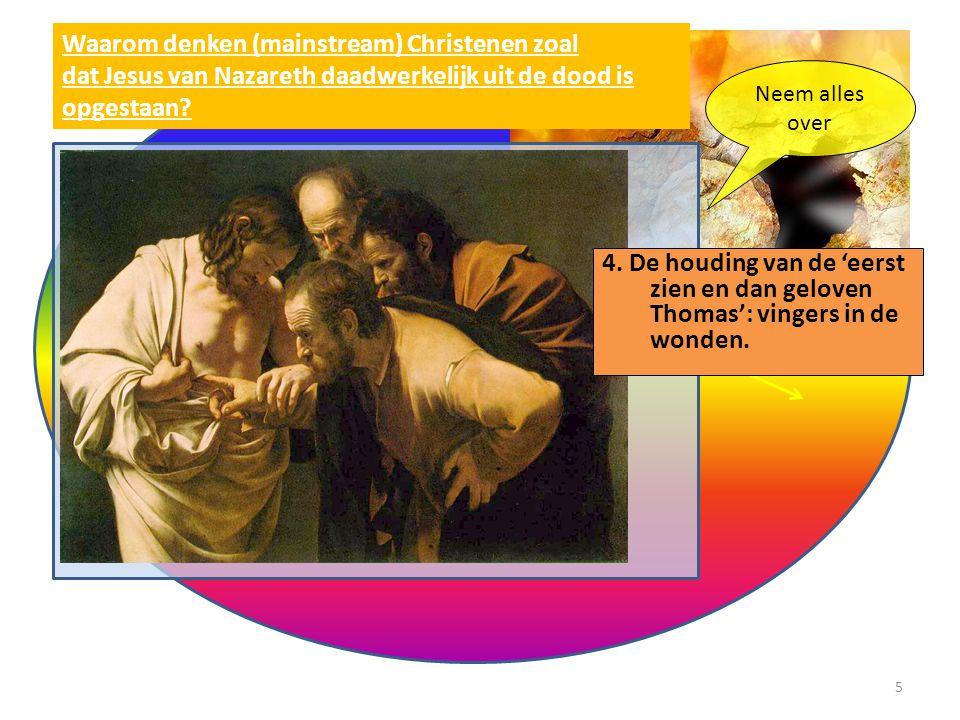 Waarom denken (mainstream) Christenen zoal dat Jesus van Nazareth daadwerkelijk uit de dood is opgestaan? Neem alles over 4. De houding van de 'eerst