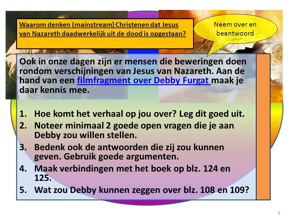 Ook in onze dagen zijn er mensen die beweringen doen rondom verschijningen van Jesus van Nazareth. Aan de hand van een filmfragment over Debby Furgat