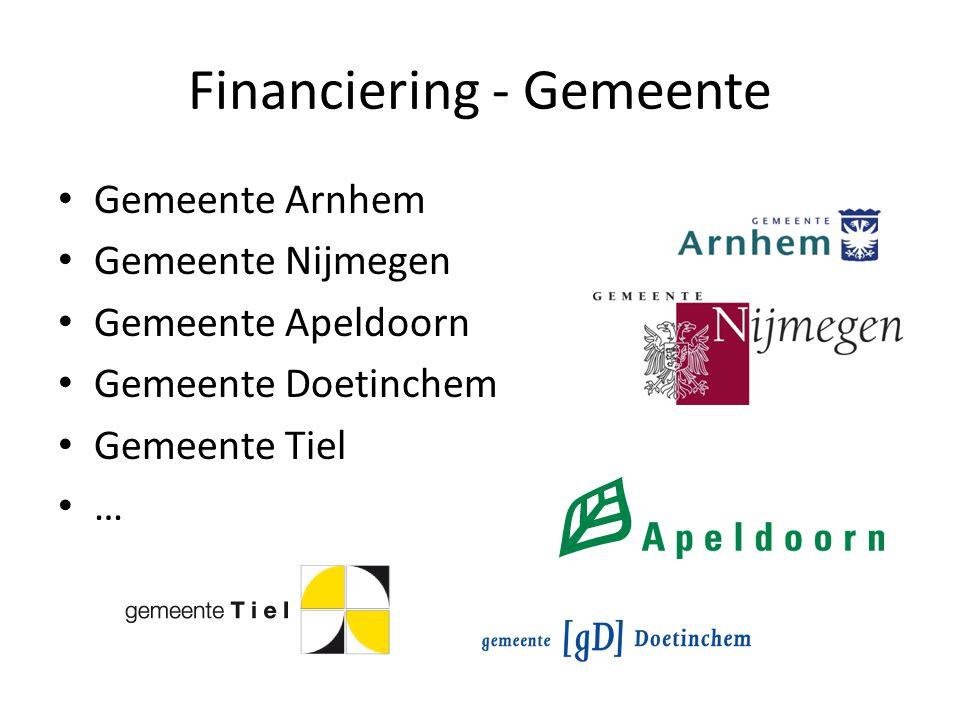 Financiering - Gemeente Gemeente Arnhem Gemeente Nijmegen Gemeente Apeldoorn Gemeente Doetinchem Gemeente Tiel …