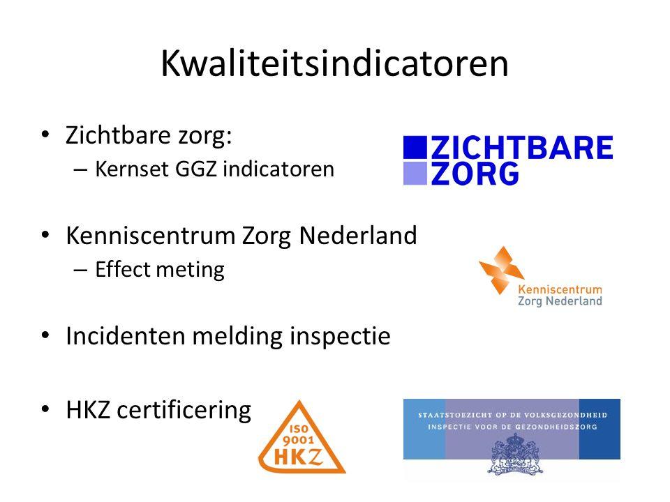 Kwaliteitsindicatoren Zichtbare zorg: – Kernset GGZ indicatoren Kenniscentrum Zorg Nederland – Effect meting Incidenten melding inspectie HKZ certific