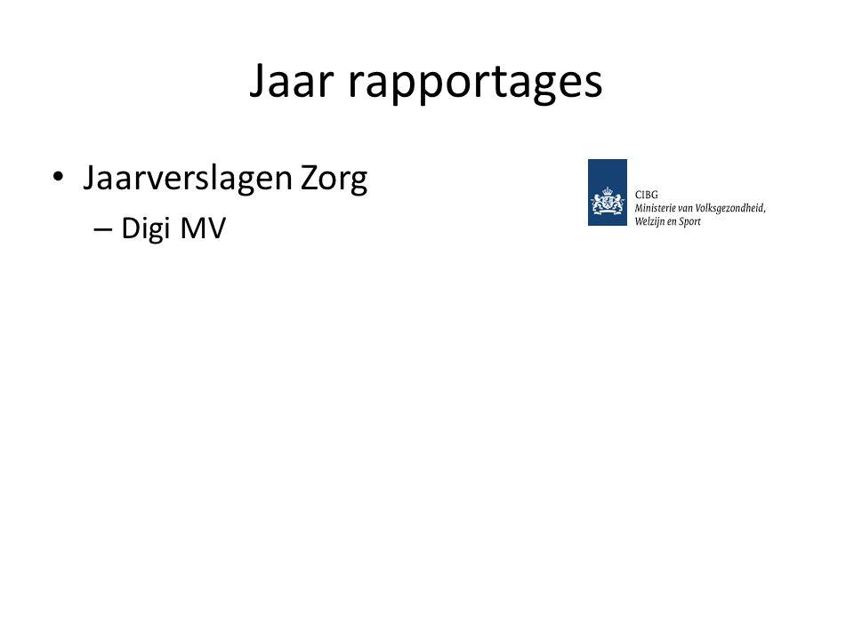 Jaar rapportages Jaarverslagen Zorg – Digi MV