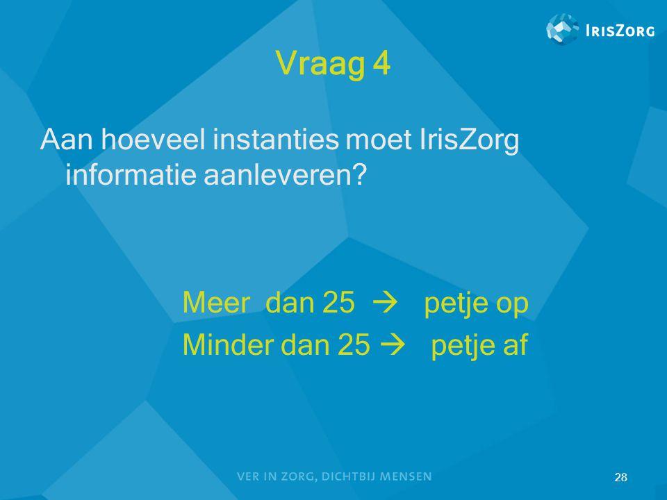28 Vraag 4 Aan hoeveel instanties moet IrisZorg informatie aanleveren? Meer dan 25  petje op Minder dan 25  petje af