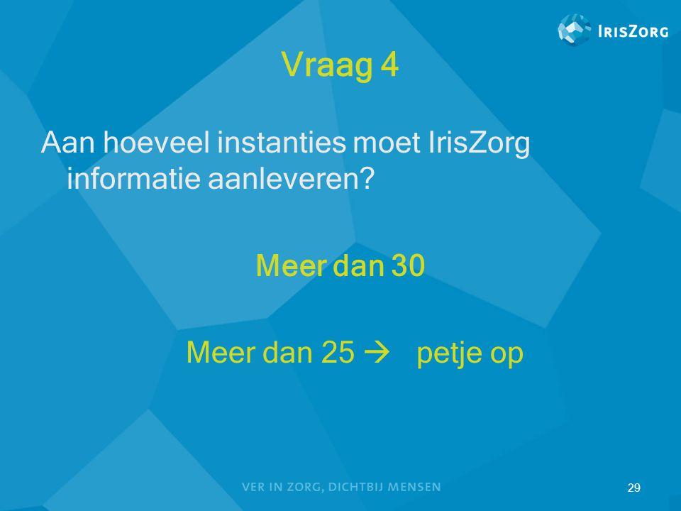29 Vraag 4 Aan hoeveel instanties moet IrisZorg informatie aanleveren? Meer dan 30 Meer dan 25  petje op