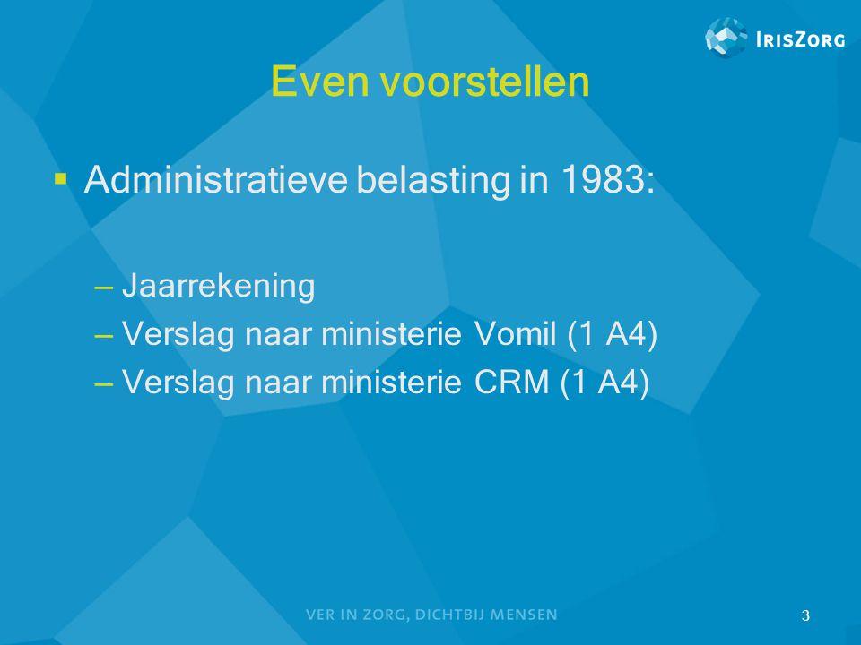 Even voorstellen  Administratieve belasting in 1983: – Jaarrekening – Verslag naar ministerie Vomil (1 A4) – Verslag naar ministerie CRM (1 A4) 3