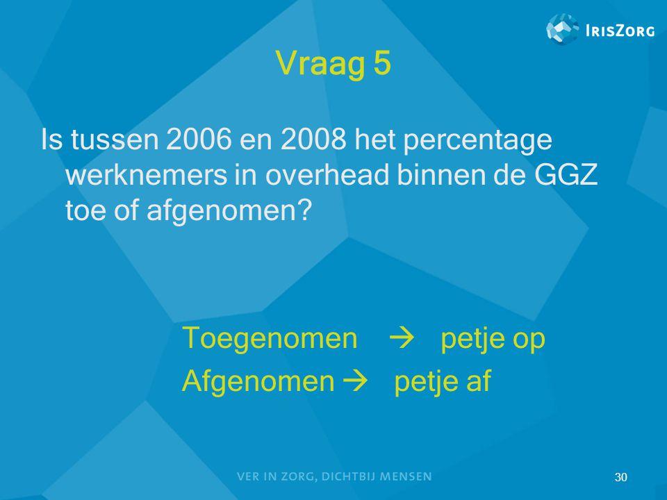 30 Vraag 5 Is tussen 2006 en 2008 het percentage werknemers in overhead binnen de GGZ toe of afgenomen? Toegenomen  petje op Afgenomen  petje af