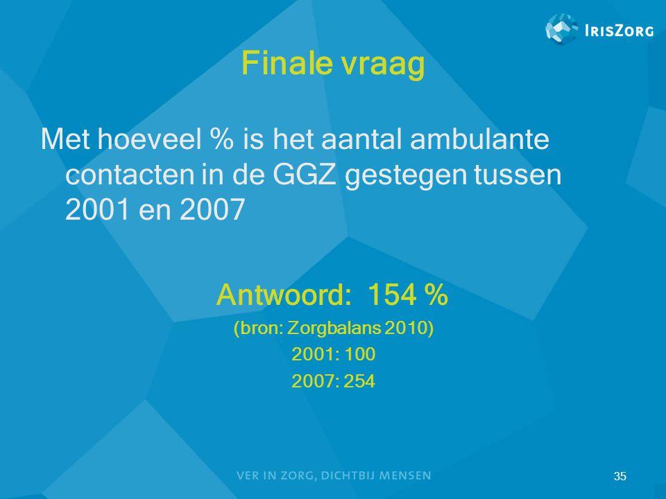 35 Finale vraag Met hoeveel % is het aantal ambulante contacten in de GGZ gestegen tussen 2001 en 2007 Antwoord: 154 % (bron: Zorgbalans 2010) 2001: 1