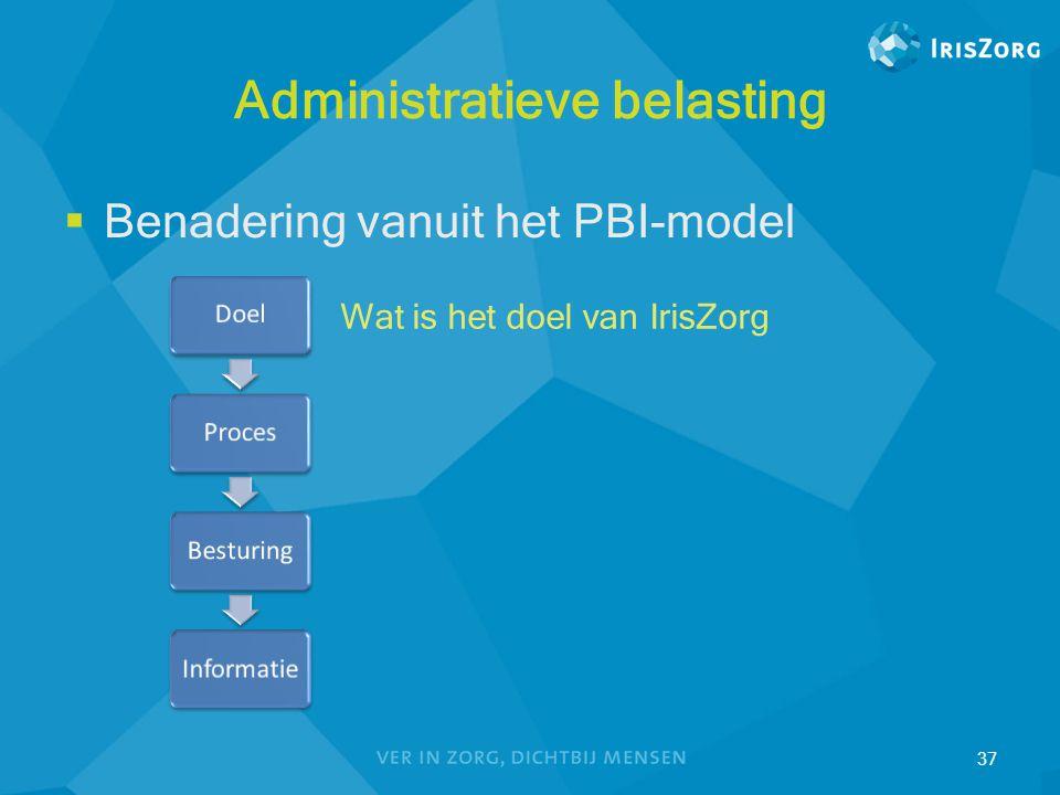 Administratieve belasting  Benadering vanuit het PBI-model 37 Wat is het doel van IrisZorg