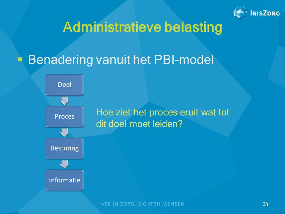 Administratieve belasting  Benadering vanuit het PBI-model 38 Hoe ziet het proces eruit wat tot dit doel moet leiden?