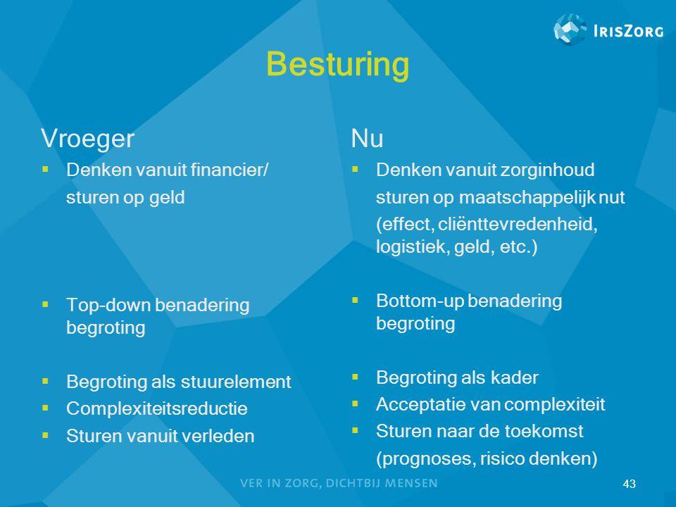 Besturing Vroeger  Denken vanuit financier/ sturen op geld  Top-down benadering begroting  Begroting als stuurelement  Complexiteitsreductie  Stu