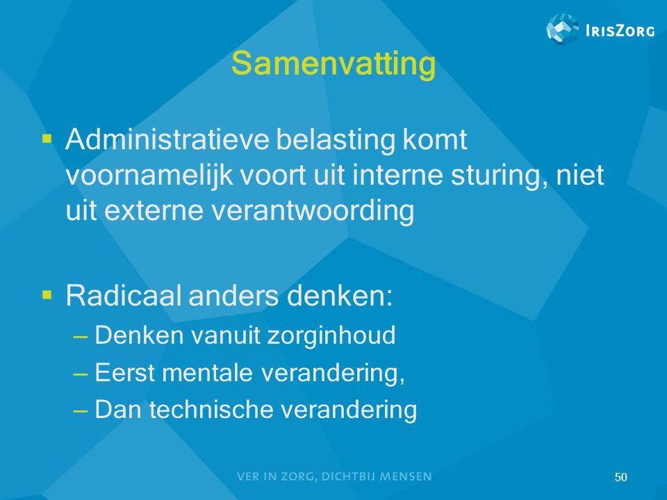 Samenvatting  Administratieve belasting komt voornamelijk voort uit interne sturing, niet uit externe verantwoording  Radicaal anders denken: – Denk