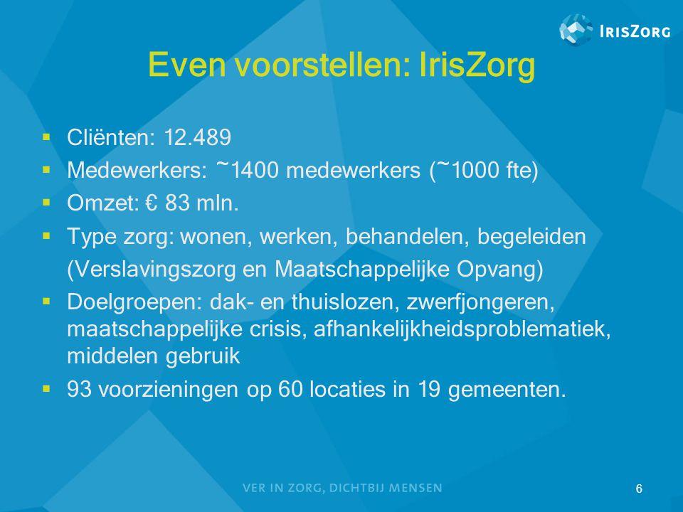 Even voorstellen: IrisZorg  Cliënten: 12.489  Medewerkers: ~1400 medewerkers (~1000 fte)  Omzet: € 83 mln.  Type zorg: wonen, werken, behandelen,