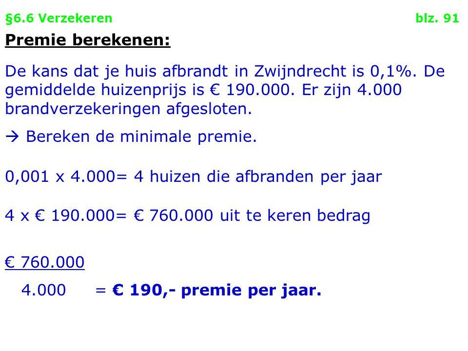§6.6 Verzekeren blz. 91 Premie berekenen: De kans dat je huis afbrandt in Zwijndrecht is 0,1%. De gemiddelde huizenprijs is € 190.000. Er zijn 4.000 b