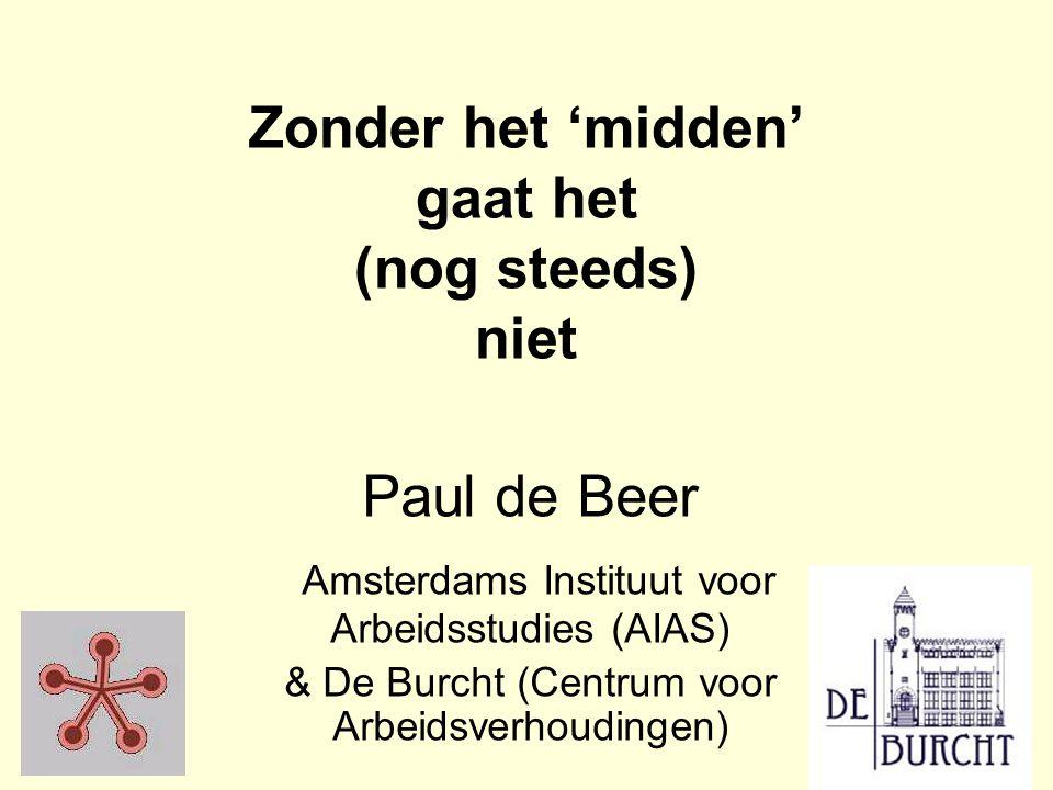 Zonder het 'midden' gaat het (nog steeds) niet Paul de Beer Amsterdams Instituut voor Arbeidsstudies (AIAS) & De Burcht (Centrum voor Arbeidsverhoudingen)