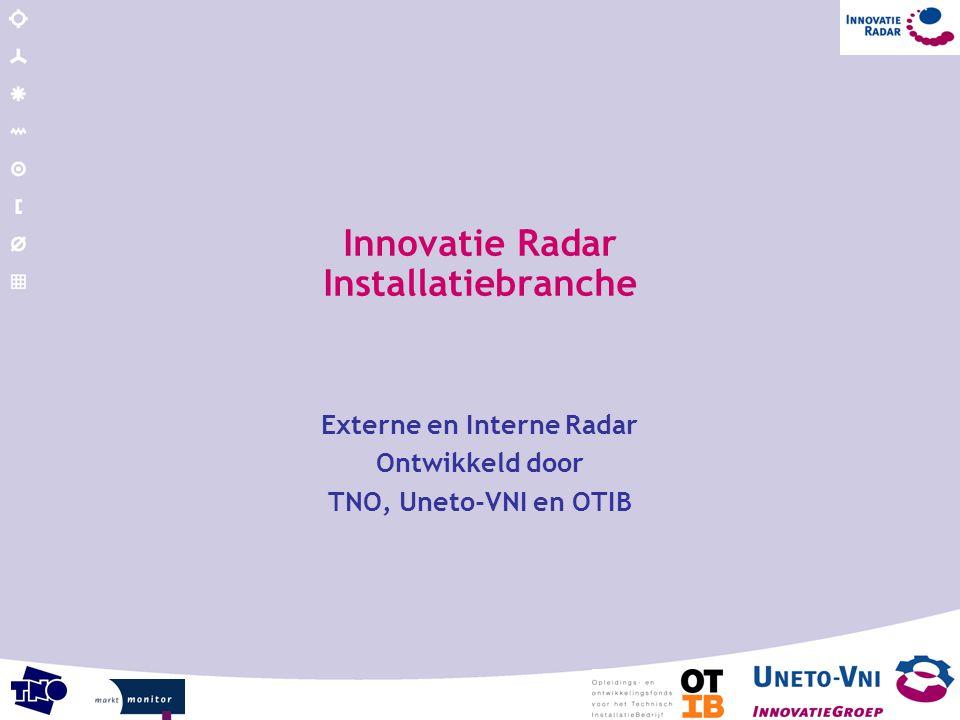 Innovatie Radar Installatiebranche Externe en Interne Radar Ontwikkeld door TNO, Uneto-VNI en OTIB
