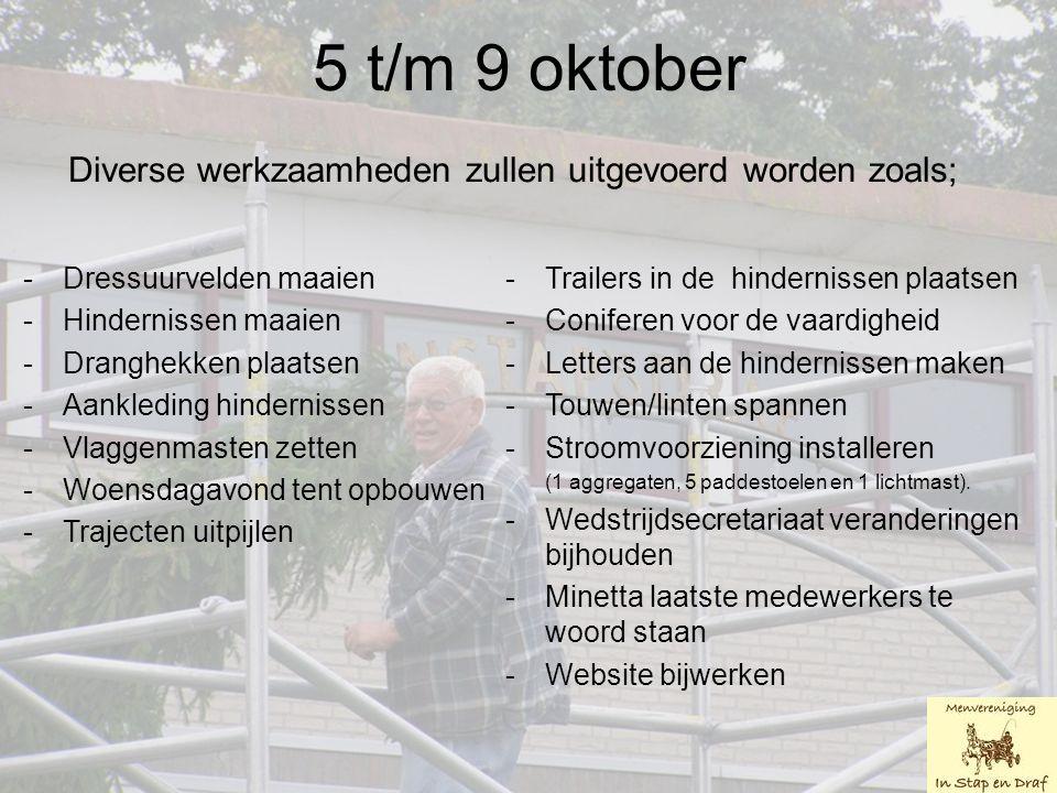 5 t/m 9 oktober Diverse werkzaamheden zullen uitgevoerd worden zoals; -Dressuurvelden maaien -Hindernissen maaien -Dranghekken plaatsen -Aankleding hindernissen -Vlaggenmasten zetten -Woensdagavond tent opbouwen -Trajecten uitpijlen -Trailers in de hindernissen plaatsen -Coniferen voor de vaardigheid -Letters aan de hindernissen maken -Touwen/linten spannen -Stroomvoorziening installeren (1 aggregaten, 5 paddestoelen en 1 lichtmast).