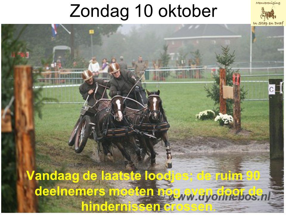 Zondag 10 oktober Vandaag de laatste loodjes; de ruim 90 deelnemers moeten nog even door de hindernissen crossen.