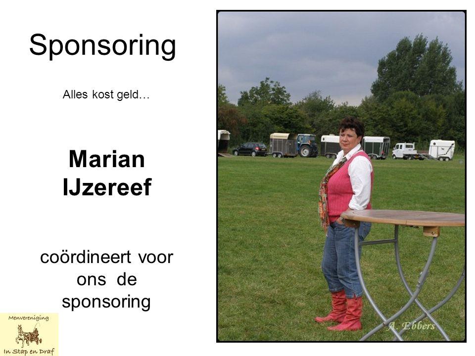 Sponsoring Alles kost geld… Marian IJzereef coördineert voor ons de sponsoring