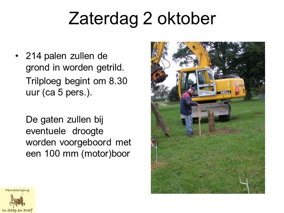 Zaterdag 2 oktober 214 palen zullen de grond in worden getrild.