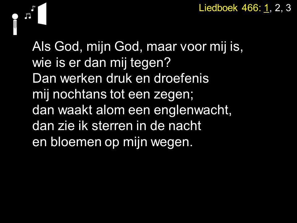 Liedboek 466: 1, 2, 3 Als God, mijn God, maar voor mij is, wie is er dan mij tegen? Dan werken druk en droefenis mij nochtans tot een zegen; dan waakt