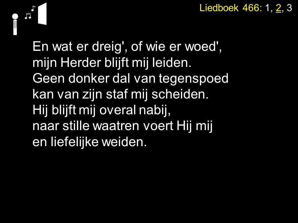 Liedboek 466: 1, 2, 3 En wat er dreig', of wie er woed', mijn Herder blijft mij leiden. Geen donker dal van tegenspoed kan van zijn staf mij scheiden.