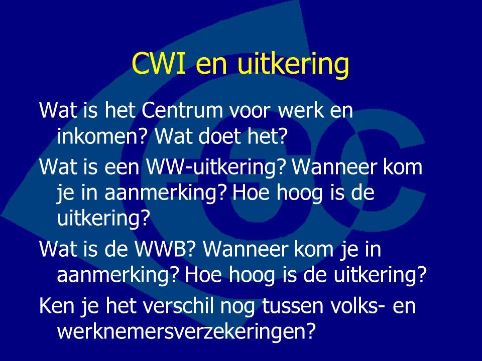 CWI en uitkering Wat is het Centrum voor werk en inkomen.