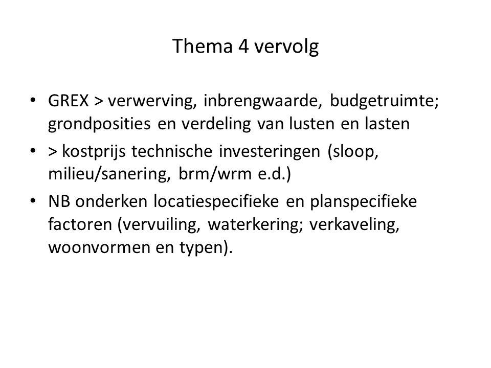 Thema 4 vervolg GREX > verwerving, inbrengwaarde, budgetruimte; grondposities en verdeling van lusten en lasten > kostprijs technische investeringen (