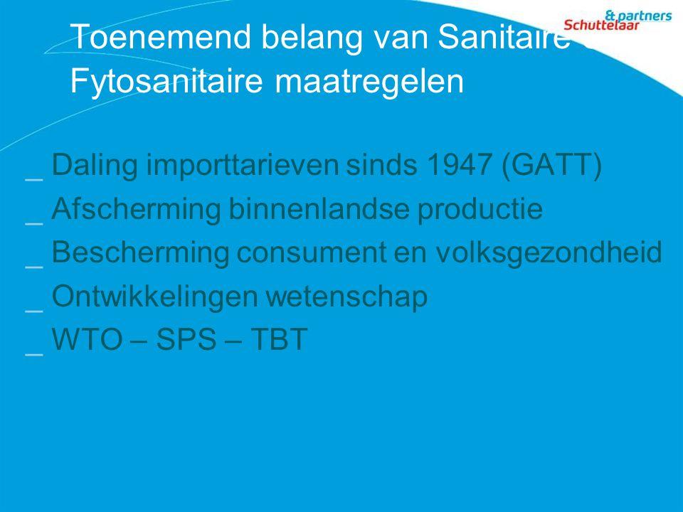 Toenemend belang van Sanitaire en Fytosanitaire maatregelen _Daling importtarieven sinds 1947 (GATT) _Afscherming binnenlandse productie _Bescherming consument en volksgezondheid _Ontwikkelingen wetenschap _WTO – SPS – TBT