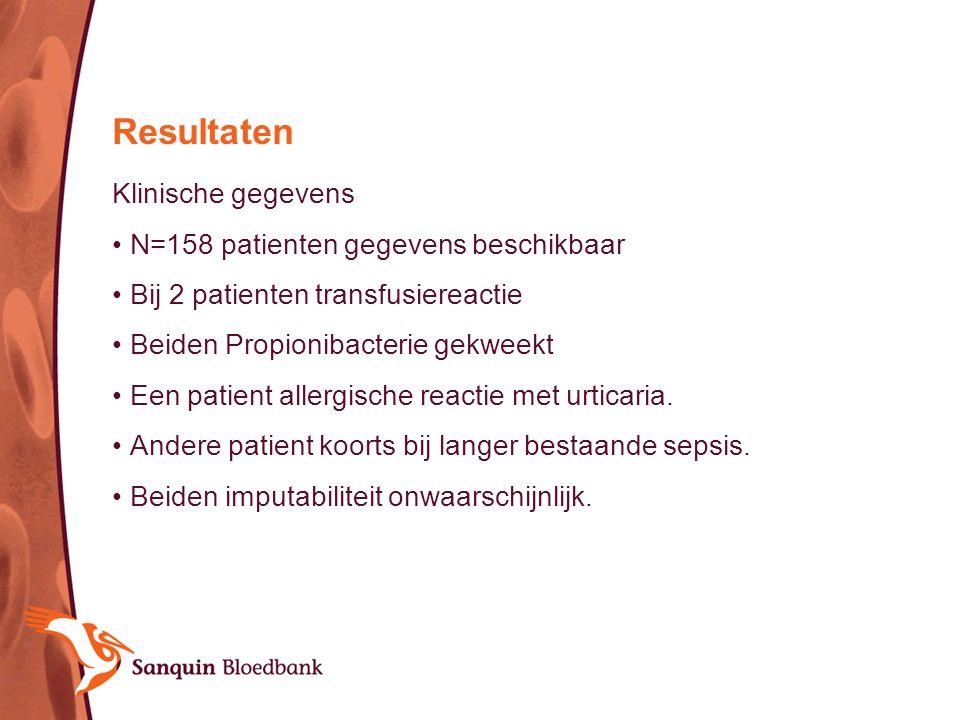 Klinische gegevens N=158 patienten gegevens beschikbaar Bij 2 patienten transfusiereactie Beiden Propionibacterie gekweekt Een patient allergische rea