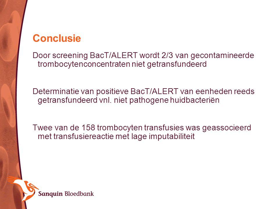 Conclusie Door screening BacT/ALERT wordt 2/3 van gecontamineerde trombocytenconcentraten niet getransfundeerd Determinatie van positieve BacT/ALERT v