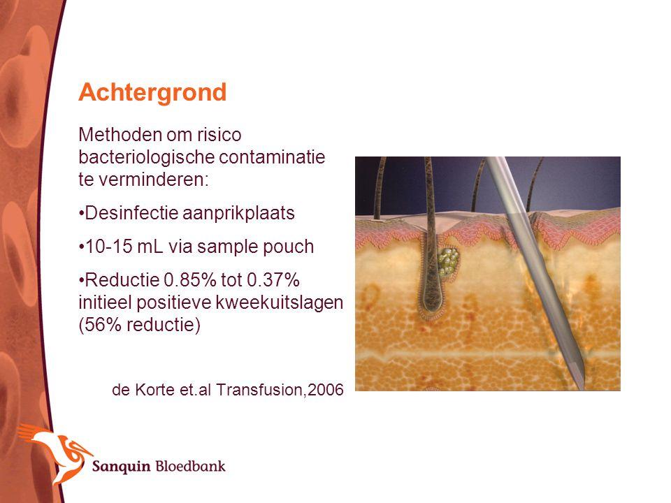 Achtergrond Methoden om risico bacteriologische contaminatie te verminderen: Desinfectie aanprikplaats 10-15 mL via sample pouch Reductie 0.85% tot 0.