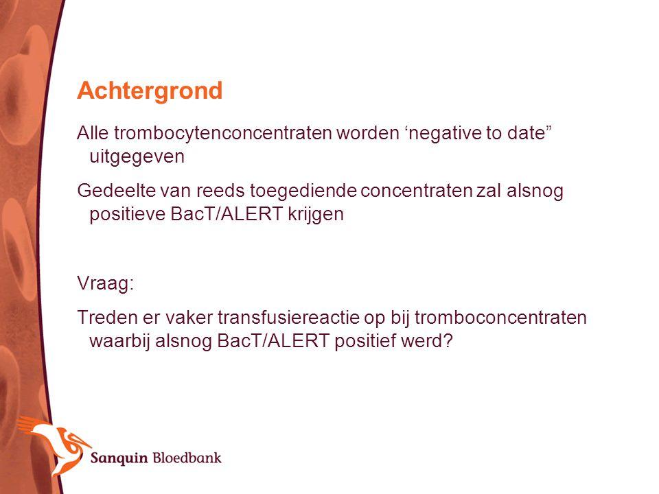 """Achtergrond Alle trombocytenconcentraten worden 'negative to date"""" uitgegeven Gedeelte van reeds toegediende concentraten zal alsnog positieve BacT/AL"""