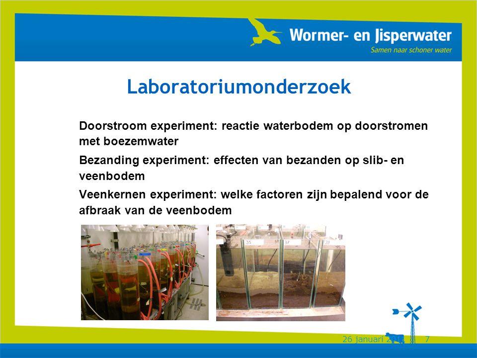 26 januari 20117 Laboratoriumonderzoek Doorstroom experiment: reactie waterbodem op doorstromen met boezemwater Bezanding experiment: effecten van bezanden op slib- en veenbodem Veenkernen experiment: welke factoren zijn bepalend voor de afbraak van de veenbodem