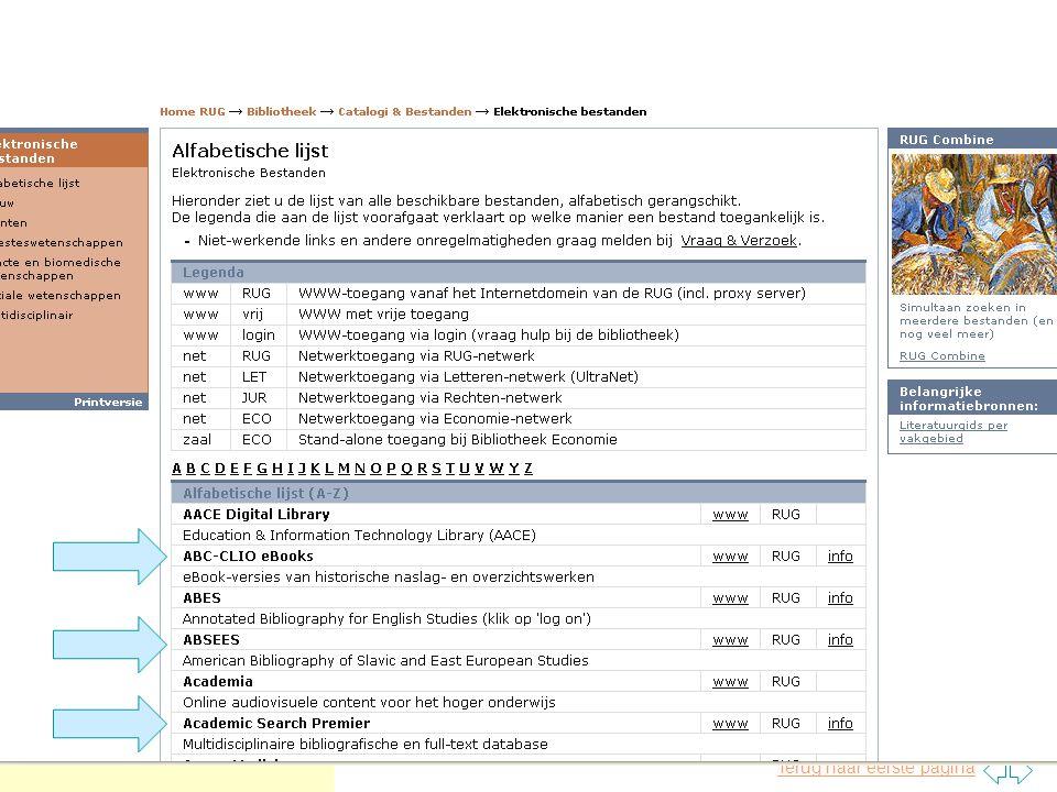 Terug naar eerste pagina Google Scholar