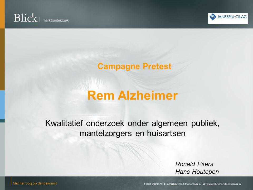 Volledige campagnebeeld (3 resp.4 uitingen) 22 -De naam rem alzheimer wordt geassocieerd met vertragen, verminderen, dat er iets aan te doen is.
