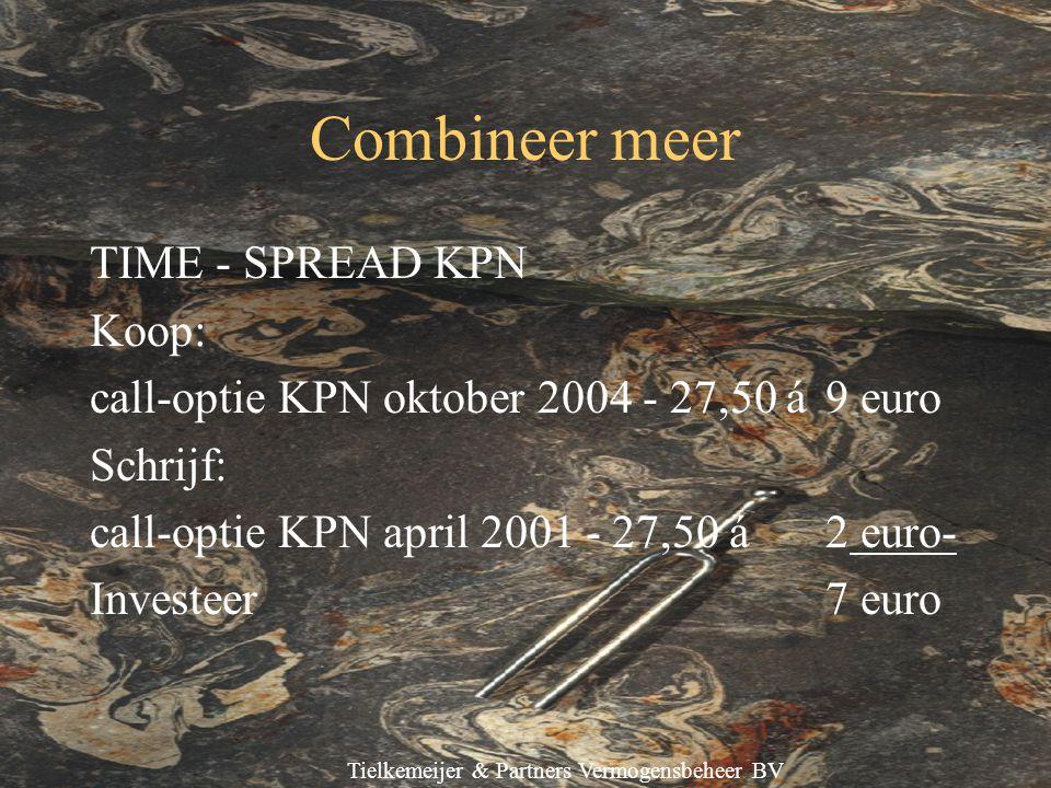Tielkemeijer & Partners Vermogensbeheer BV Combineer meer TIME - SPREAD KPN Koop: call-optie KPN oktober 2004 - 27,50 á9 euro Schrijf: call-optie KPN april 2001 - 27,50 á 2 euro- Investeer 7 euro
