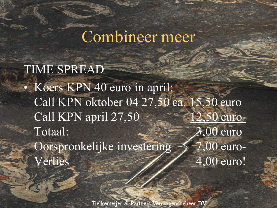Tielkemeijer & Partners Vermogensbeheer BV Combineer meer TIME SPREAD Koers KPN 40 euro in april: Call KPN oktober 04 27,50 ca.