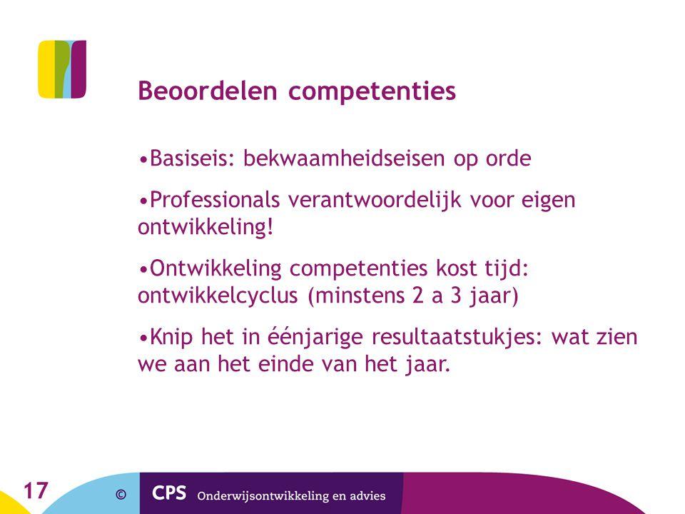 17 Beoordelen competenties Basiseis: bekwaamheidseisen op orde Professionals verantwoordelijk voor eigen ontwikkeling! Ontwikkeling competenties kost