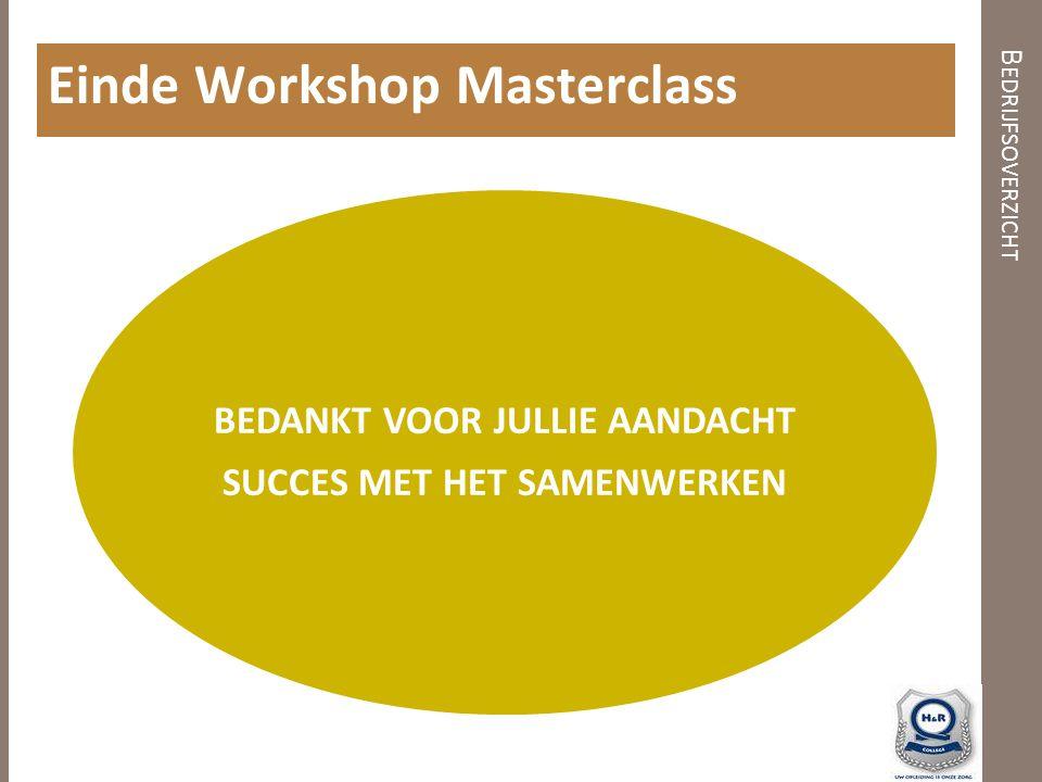 B EDRIJFSOVERZICHT Einde Workshop Masterclass BEDANKT VOOR JULLIE AANDACHT SUCCES MET HET SAMENWERKEN