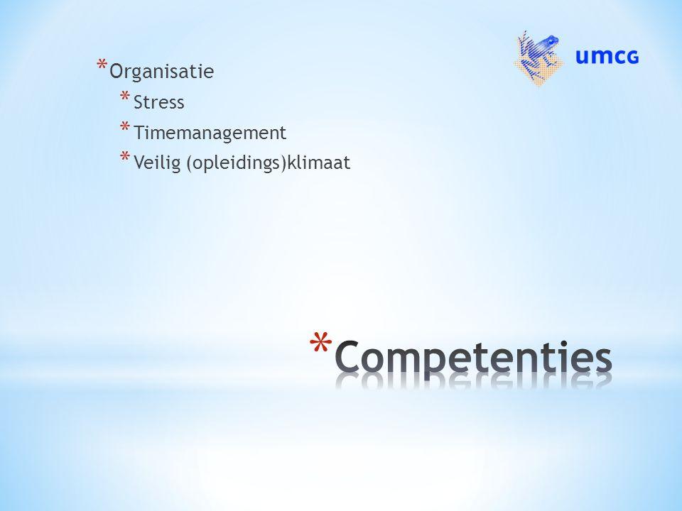 * Organisatie * Stress * Timemanagement * Veilig (opleidings)klimaat