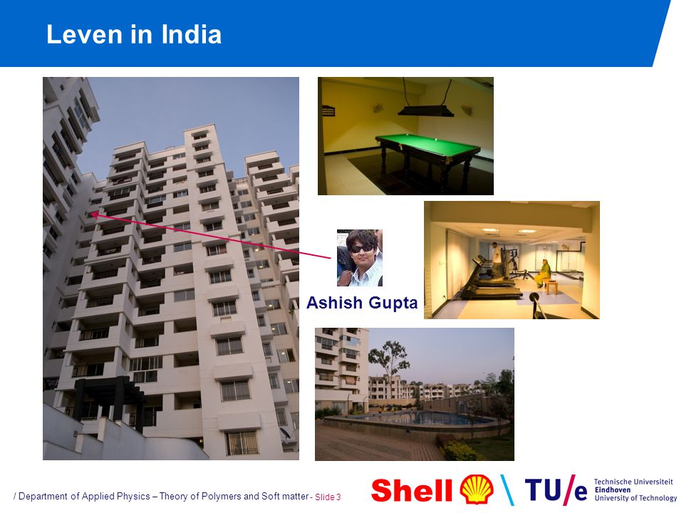 Shell Leven in India / Department of Applied Physics – Theory of Polymers and Soft matter - Slide 3 Ashish Gupta