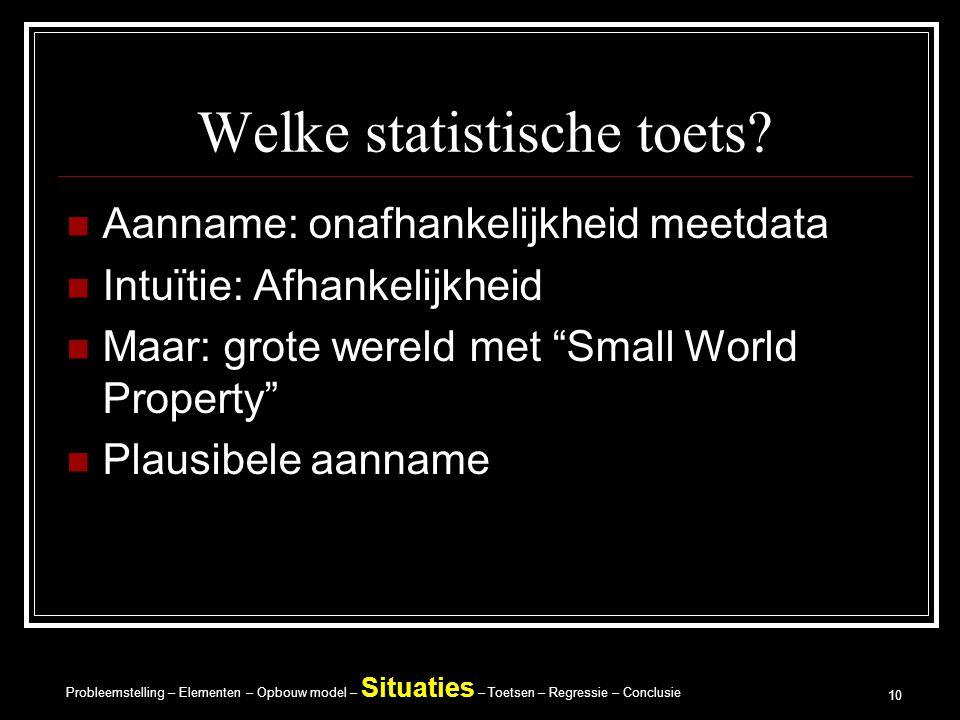 Probleemstelling – Elementen – Opbouw model – Situaties – Toetsen – Regressie – Conclusie 10 Welke statistische toets.