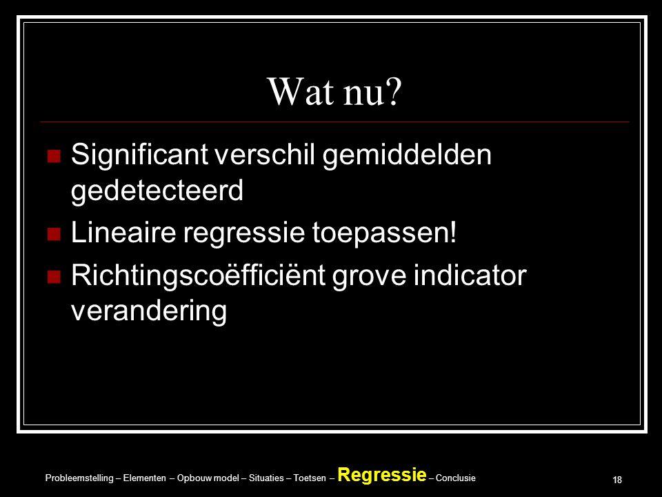 Probleemstelling – Elementen – Opbouw model – Situaties – Toetsen – Regressie – Conclusie 18 Wat nu.