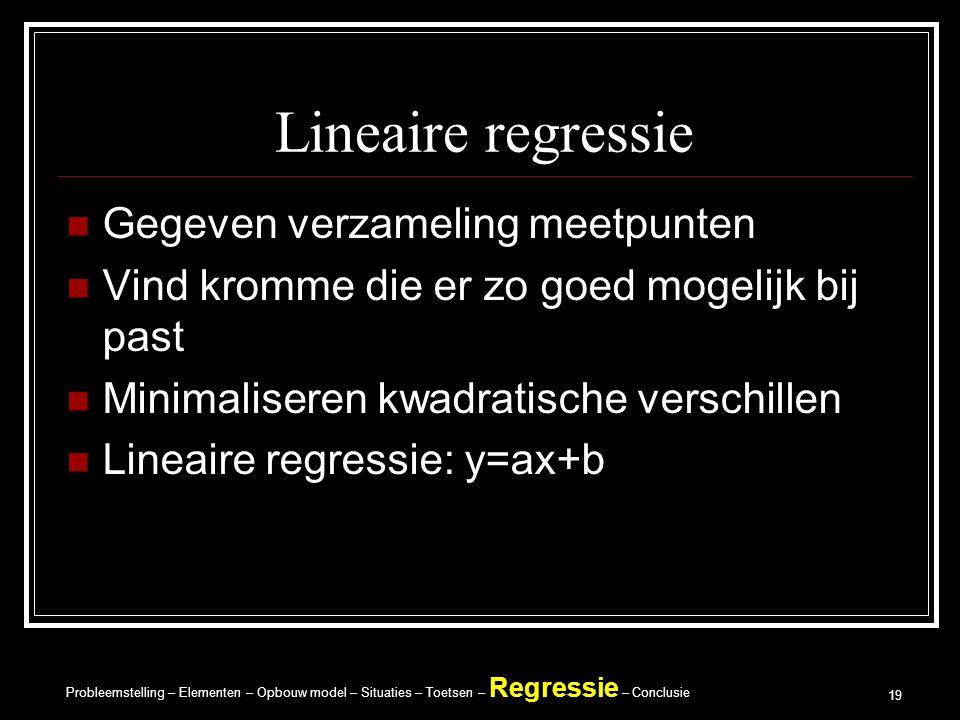 Probleemstelling – Elementen – Opbouw model – Situaties – Toetsen – Regressie – Conclusie 19 Lineaire regressie Gegeven verzameling meetpunten Vind kromme die er zo goed mogelijk bij past Minimaliseren kwadratische verschillen Lineaire regressie: y=ax+b