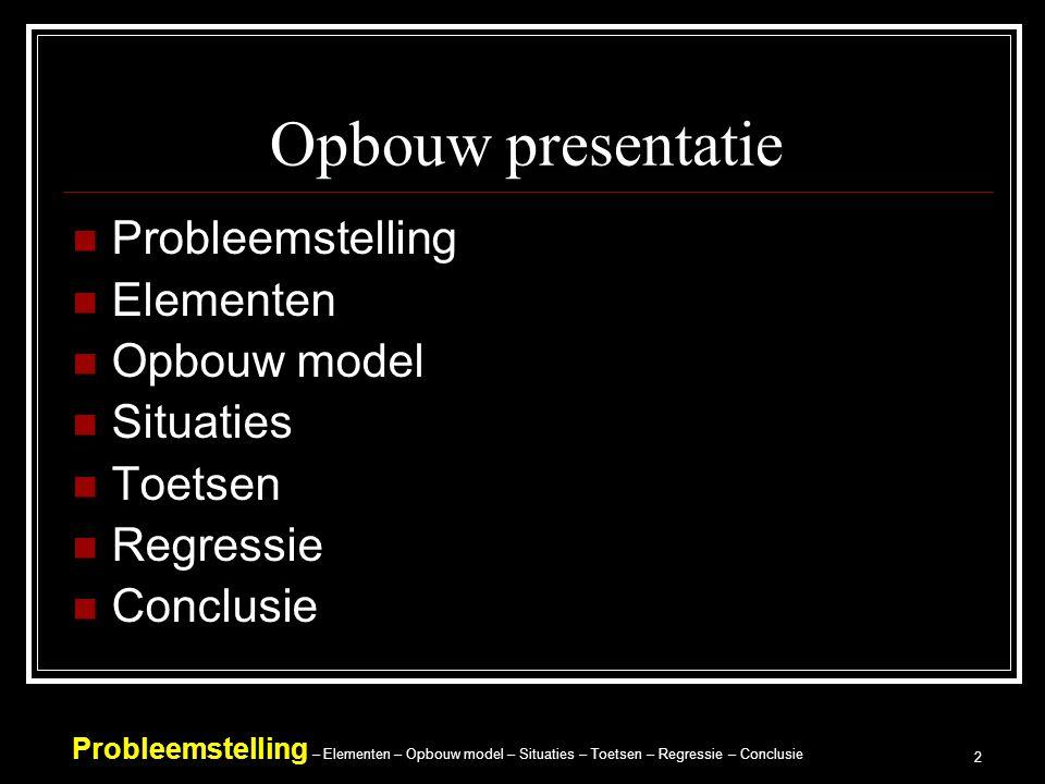 Probleemstelling – Elementen – Opbouw model – Situaties – Toetsen – Regressie – Conclusie 2 Opbouw presentatie Probleemstelling Elementen Opbouw model Situaties Toetsen Regressie Conclusie