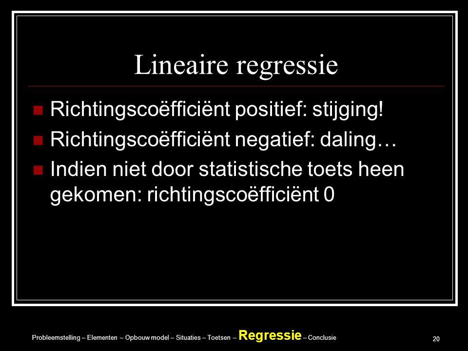 Probleemstelling – Elementen – Opbouw model – Situaties – Toetsen – Regressie – Conclusie 20 Lineaire regressie Richtingscoëfficiënt positief: stijging.