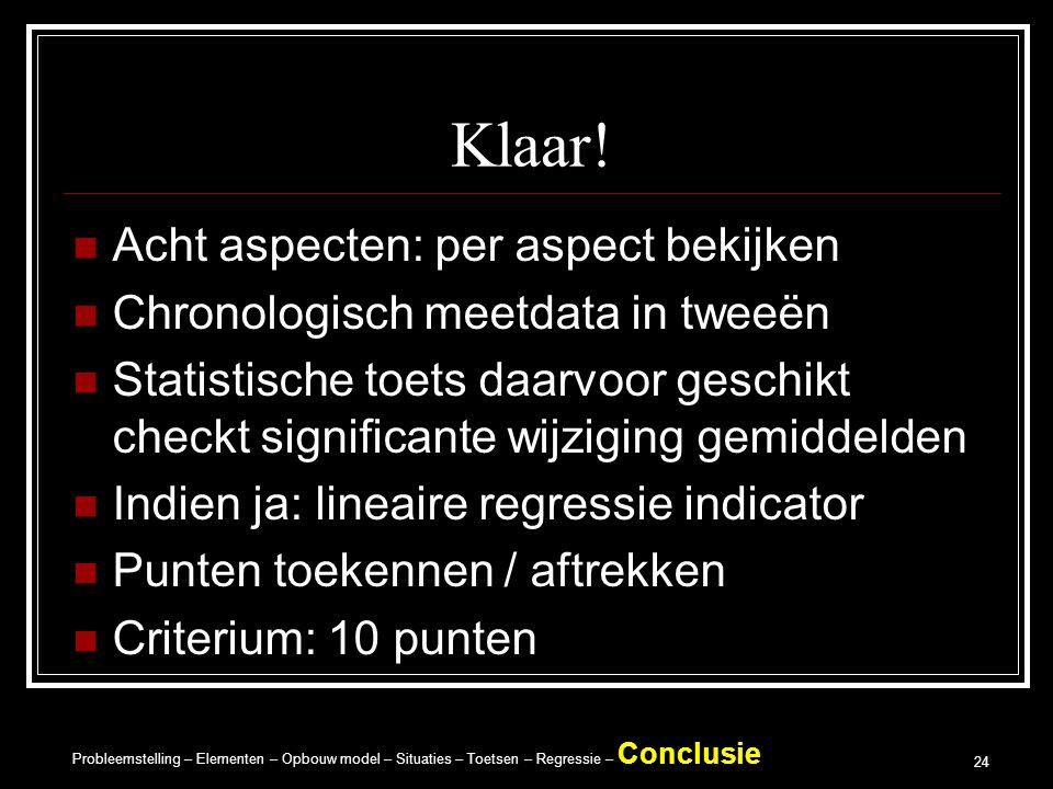 Probleemstelling – Elementen – Opbouw model – Situaties – Toetsen – Regressie – Conclusie 24 Klaar.