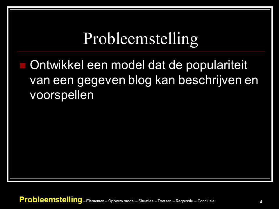 Probleemstelling – Elementen – Opbouw model – Situaties – Toetsen – Regressie – Conclusie 4 Probleemstelling Ontwikkel een model dat de populariteit van een gegeven blog kan beschrijven en voorspellen