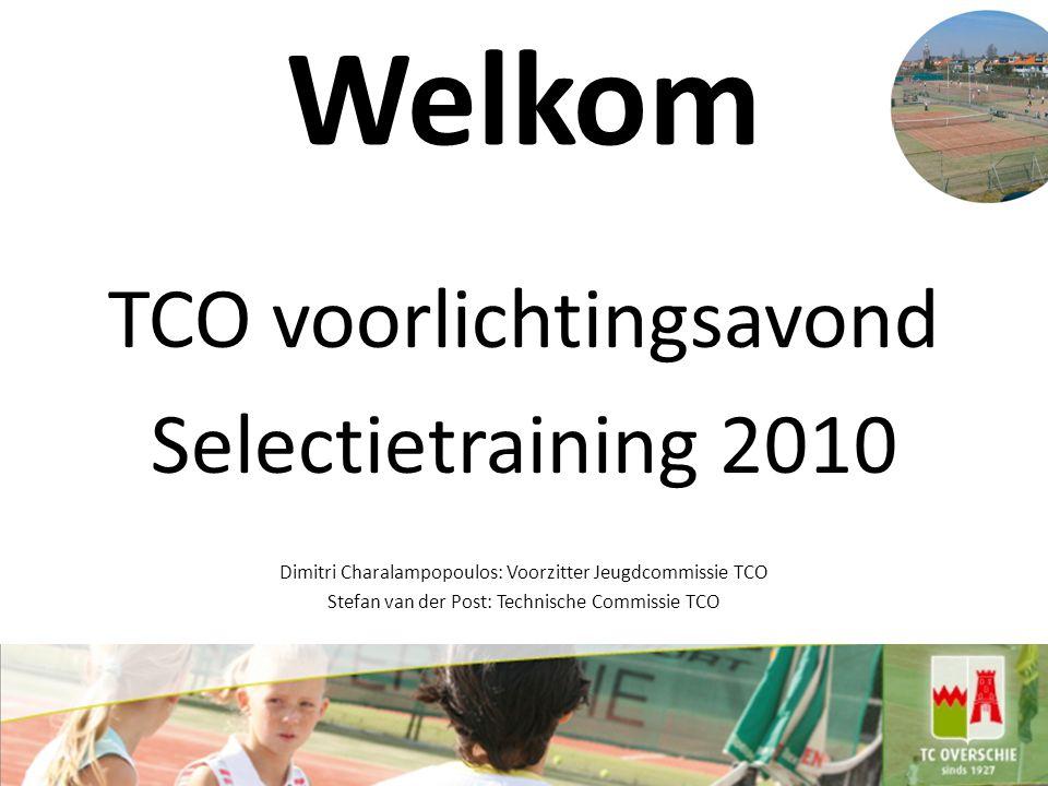 Welkom TCO voorlichtingsavond Selectietraining 2010 Dimitri Charalampopoulos: Voorzitter Jeugdcommissie TCO Stefan van der Post: Technische Commissie TCO