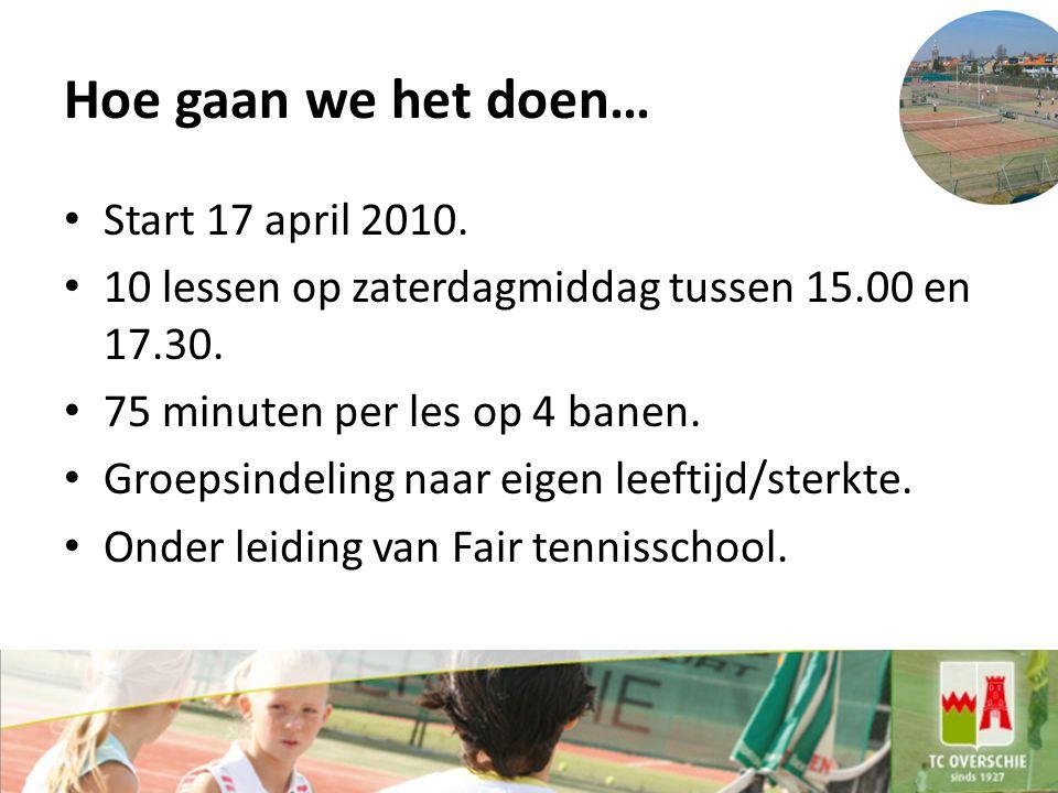 Hoe gaan we het doen… Start 17 april 2010.10 lessen op zaterdagmiddag tussen 15.00 en 17.30.